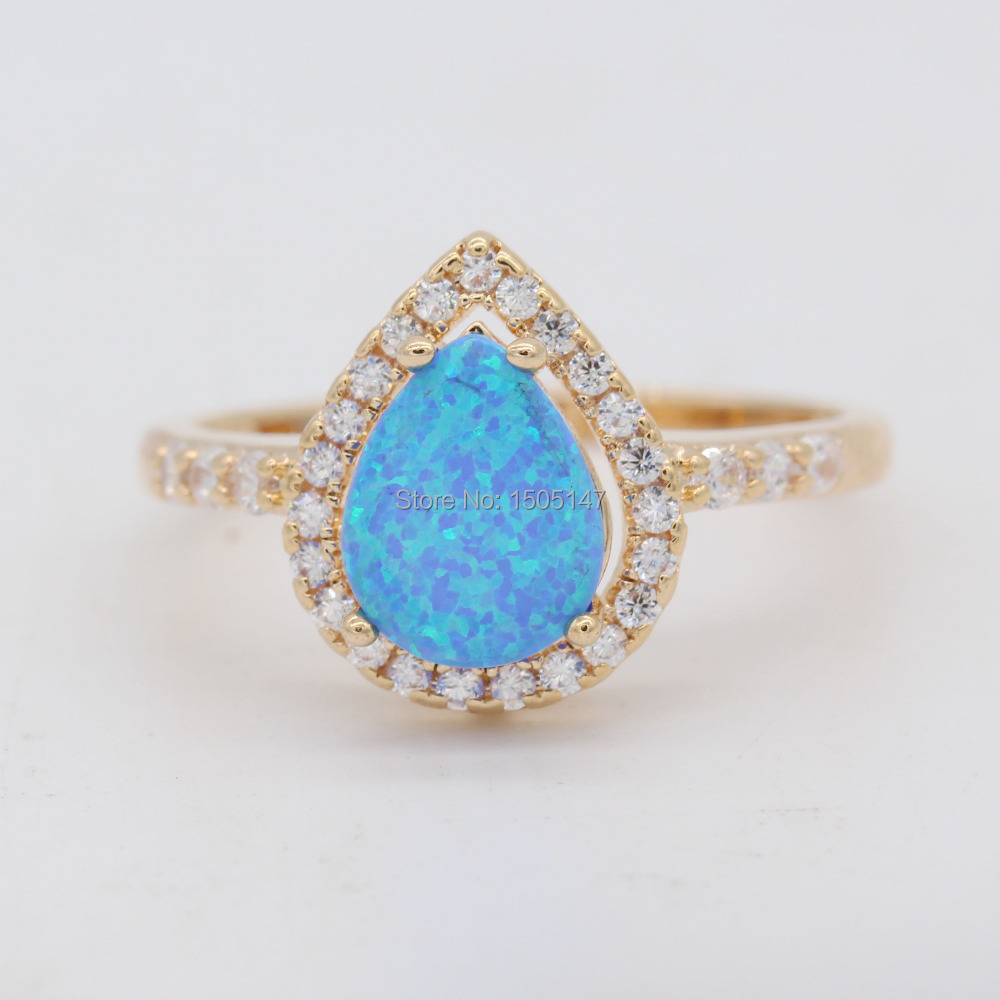Popular New Design Fashion Jewelry Blue Fire Opal 925 Gold Color Zircon Ring