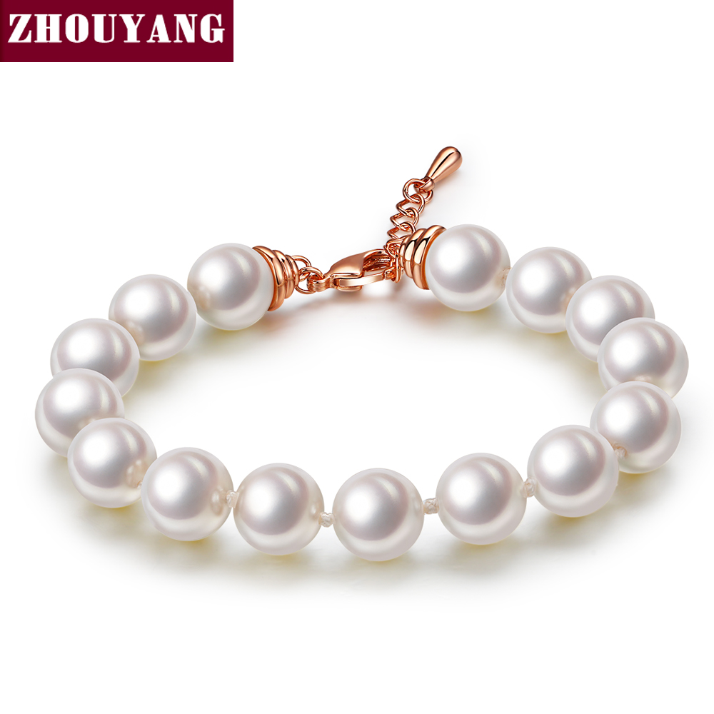 Top Quality ZYH208 ZYH209 White Imitation Pearl Rose Gold Color Bracelet Jewelry Austrian Crystals Wholesale