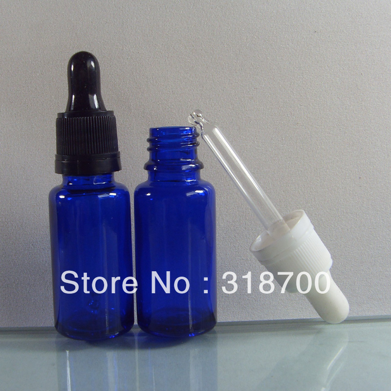 200pcs/lot DIY 15ml cobalt blue glass dropper bottle with tamper Evident Dropper