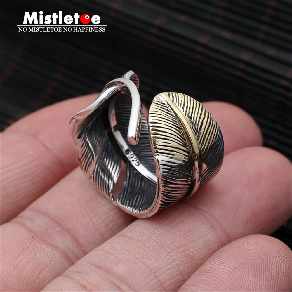 Genuine 925 Sterling Silver Vintage Punk Locomotive Indian Eagle Feather Ring For Women Men Fashion Jewelry