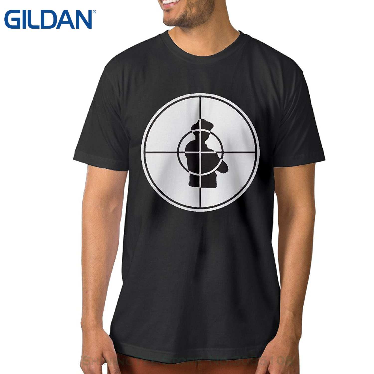 GILDAN Moda T-Shirt Slim Fit O-Boyun Public Enemy Rock Band Logo erkek Pamuk Tee Gömlek