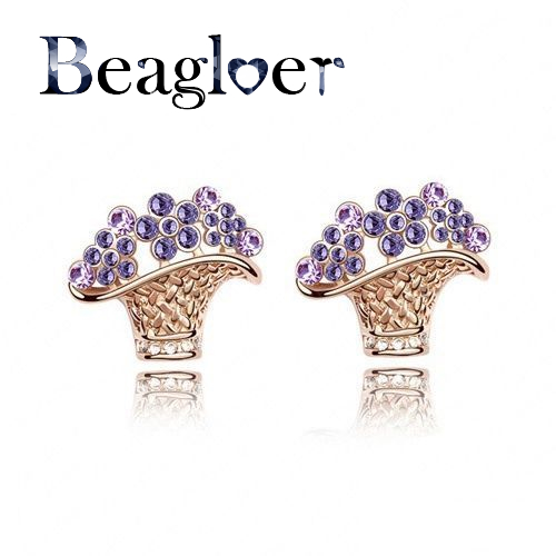 Beagloer Gold Color Austrian Crystal Flower Basket Ear Stud Earring Women Earring Mix Colors Options ER0111-C